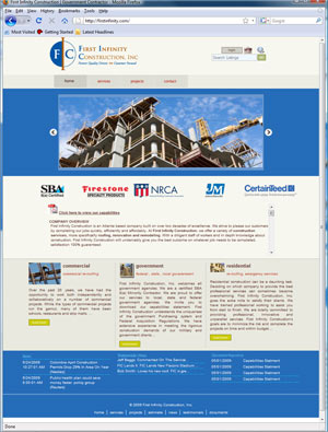 First Infinity Construction launches redesigned Web Site - SBA 8(a) Certification